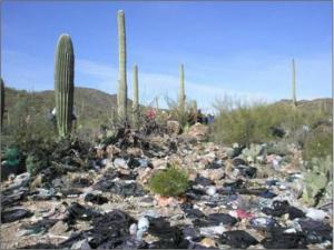 Trash on BLM land in the Roskruge-Recortado Mountains. Source: Bureau of Land Management